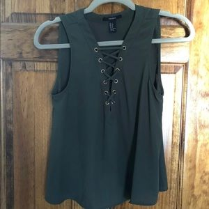 Army Green tie tank top